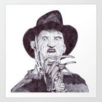 freddy krueger Art Prints featuring krueger by DeMoose_Art