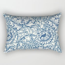 William Morris Navy Blue Botanical Pattern 8 Rectangular Pillow