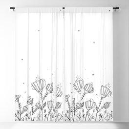 Black Doodle Flowers Art Illustration Blackout Curtain