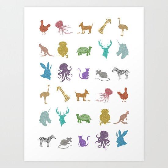 Glitter Animals A Art Print