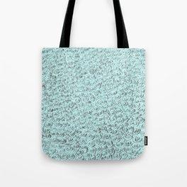 Aqua and Gray Rose Flurry Tote Bag