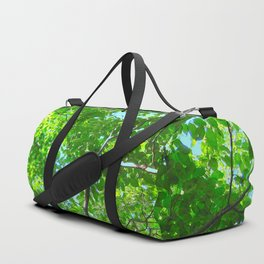 Canopy of Green, Leafy Branches with Blue Sky Duffle Bag