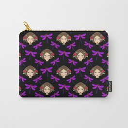 Pretty pink purple dragonflies, faces of girl dolls. Feminine folk artistic gorgeous black pattern. Carry-All Pouch
