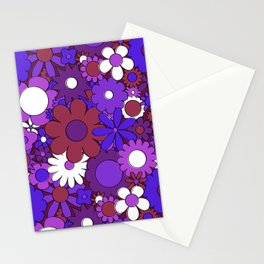 Funky Daisy Floral in Psychedelic Purple Stationery Cards