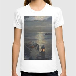 Plymouth Sound by Moonlight and Searchlight coastal nautical landscape painting by Julius Olsson T-shirt