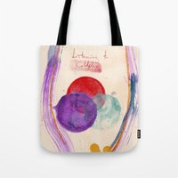 coldplay Tote Bags featuring Painting & Coldplay by Hector Pahaut