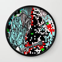 heavy metal Wall Clocks featuring Abstract Heavy Metal Rocks by Saundra Myles