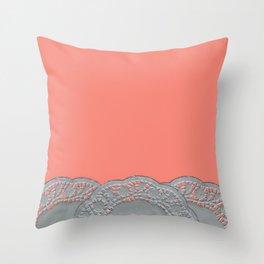 Peach Doilies Throw Pillow