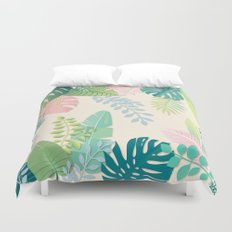 Pastel Jungle Tropical Leaf Pattern Duvet Cover