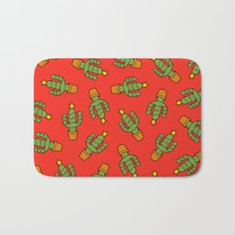 Cactus Christmas Tree in Red Bath Mat
