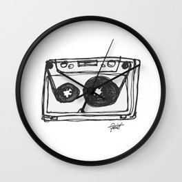"""Tape"" Hand Drawn Cassette Black / Clear Wall Clock"