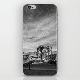 Caerphilly Castle Panorama Monochrome iPhone Skin
