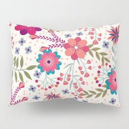 Colorful Floral Spring Pattern Pillow Sham