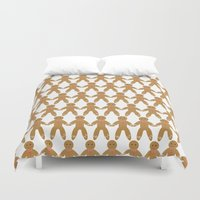 men Duvet Covers featuring Gingerbread Men by Natalie North