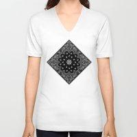 tupac V-neck T-shirts featuring black and white bandana by Marta Olga Klara