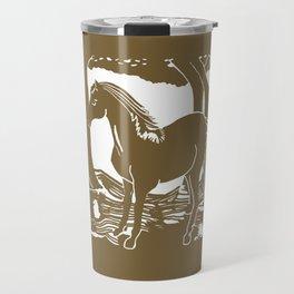 Brown Horse Printmaking Art Travel Mug