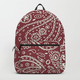 Paisley Maroon White Backpack