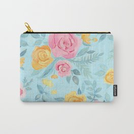 Chalk Pastel Pink & Orange Roses on Sky Blue Carry-All Pouch