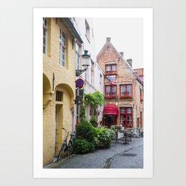 Bike with brick buildings, Bruges Art Print