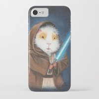guinea pig iPhone & iPod Cases featuring Jedi Guinea Pig by When Guinea Pigs Fly