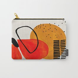 Mid Century Modern Abstract Colorful Art Yellow Ball Orange Shapes Orbit Black Pattern Carry-All Pouch