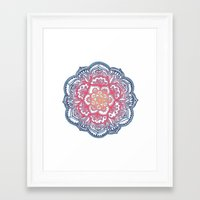 bedding Framed Art Prints featuring Radiant Medallion Doodle by micklyn