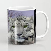 snow leopard Mugs featuring Snow Leopard by SwanniePhotoArt
