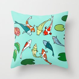 Koi Fish Meeting Throw Pillow