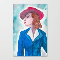 peggy carter Canvas Prints featuring Peggy Carter by LK'sArts