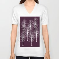 forrest V-neck T-shirts featuring Ghost Forrest by Helle Gade