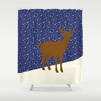 reindeer Shower Curtains featuring Reindeer by Mr and Mrs Quirynen