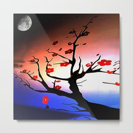 Japanese Maple Under Night Sky With Moon Metal Print