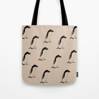 penguins Tote Bags featuring Penguins by Zen and Chic
