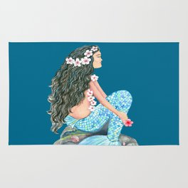 Mermaid on a rock with flowers and shells Rug