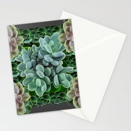 GARDEN OF GRAY-GREEN PINK SUCCULENTS Stationery Cards