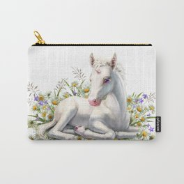 Baby unicorn lies in flowers Carry-All Pouch
