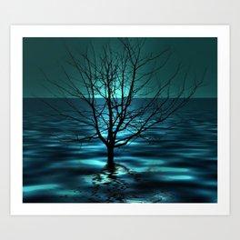 Tree in Ocean Art Print