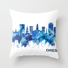 Dresden Germany Skyline Blue Throw Pillow
