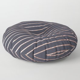 Elegant Chic Rose Gold Stripes and Navy Blue Floor Pillow