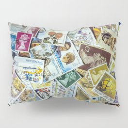 Postage Stamp Collection Pillow Sham