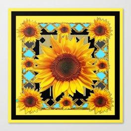 Western Black & Yellow Sunflowers Deco Art Canvas Print