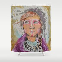 courage Shower Curtains featuring Courage by dan black