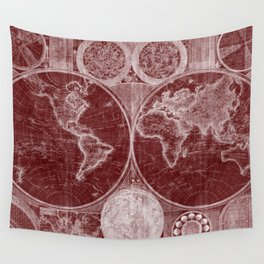 World Map (1794) Dark Red & White Wall Tapestry