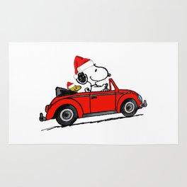 snoopy car christmas Rug