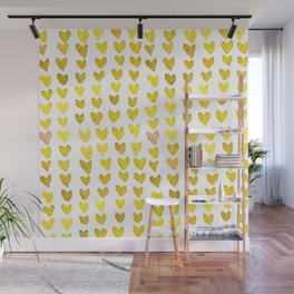 Brush stroke hearts - yellow Wall Mural