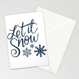 Let It Snow Blue Glitter Typography Winter Stationery Cards