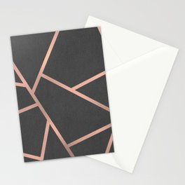 Dark Grey and Rose Gold Textured Fragments - Geometric Design Stationery Cards