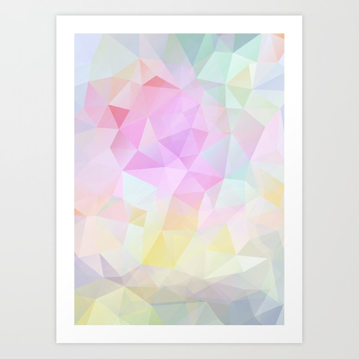Abstract print of triangles, polygon in pastel colors Art Print