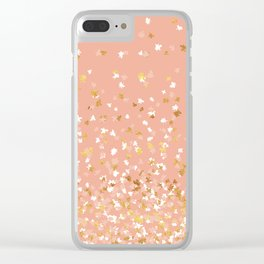 Floating Confetti - Peach and Gold Clear iPhone Case