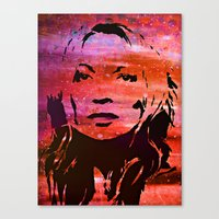 kate moss Canvas Prints featuring Kate Moss  by artbyopa